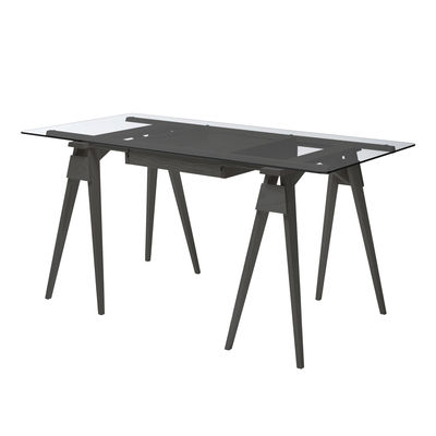 Bureau Arco / Verre et bois - 150 x 75 cm - Design House Stockholm noir en verre/bois