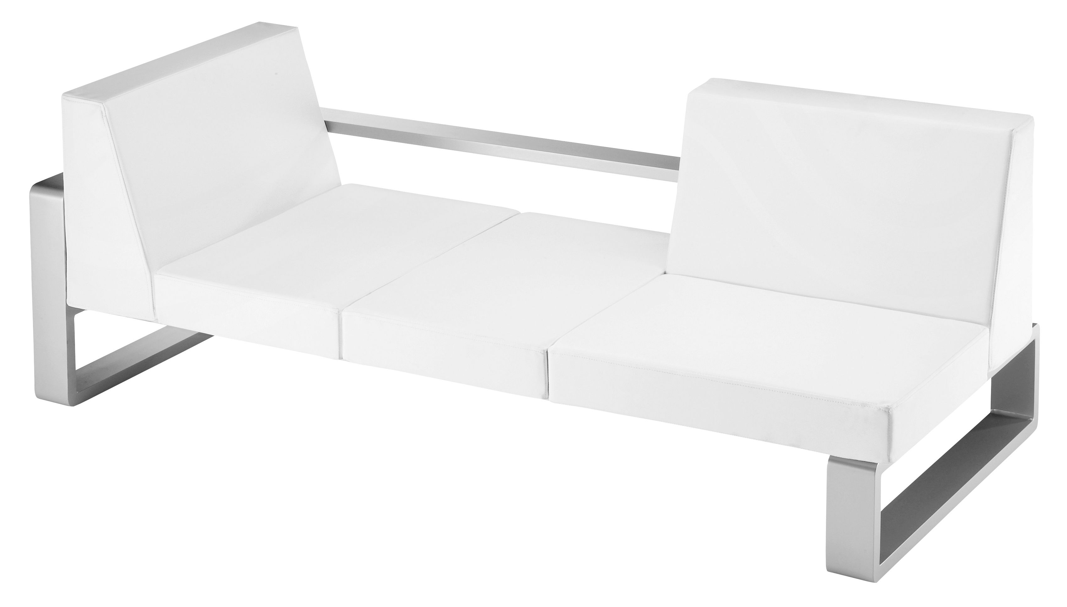 Furniture - Sofas - Kama 3 & more seater sofa by EGO Paris - White vinyl / silver structure - Lacquered aluminium, Vinal