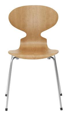 Mobilier - Chaises, fauteuils de salle à manger - Chaise empilable Fourmi / Bois naturel - Fritz Hansen - Cerisier - Acier, Contreplaqué de cerisier verni
