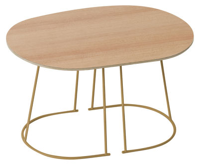 Furniture - Bedside & End tables - Airy Coffee table - / Small - 68 x 44 cm by Muuto - Pine - Structure : Gold - Painted steel, Plywood, Stratified