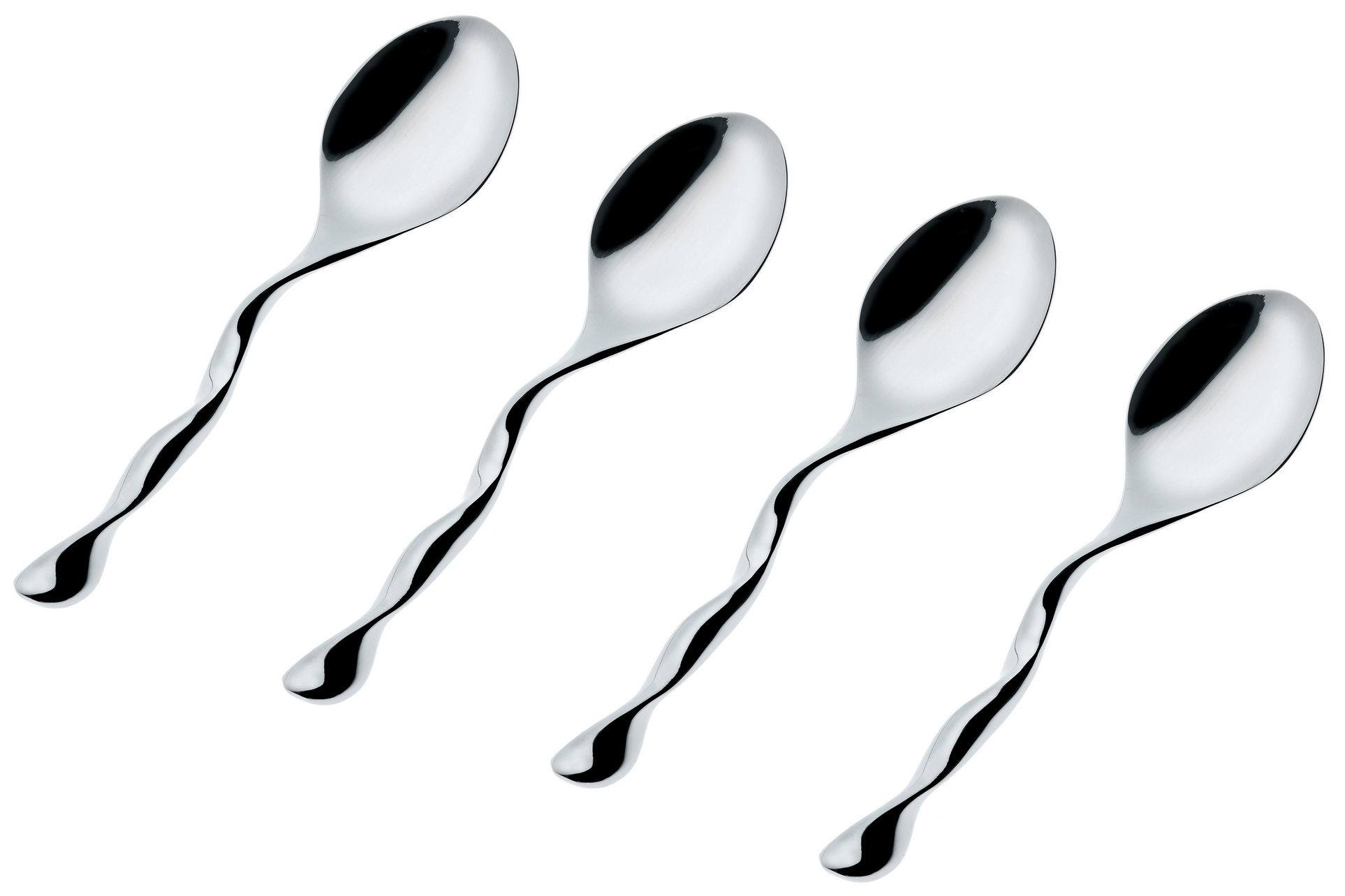 Tableware - Cutlery - Il Caffè Alessi Coffee, tea spoon - Set of 4 by Alessi - Steel - Stainless steel