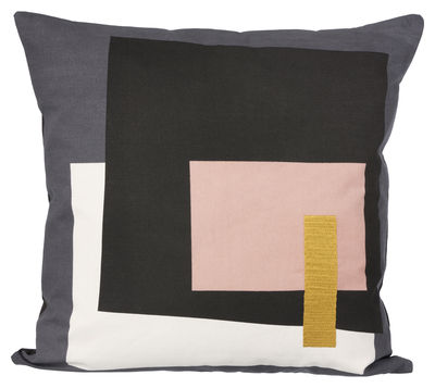 Decoration - Cushions & Poufs - Coussin Fragment Cushion - 50 x 50 cm by Ferm Living - Grey / Pink -  Duvet,  Plumes, Fabric