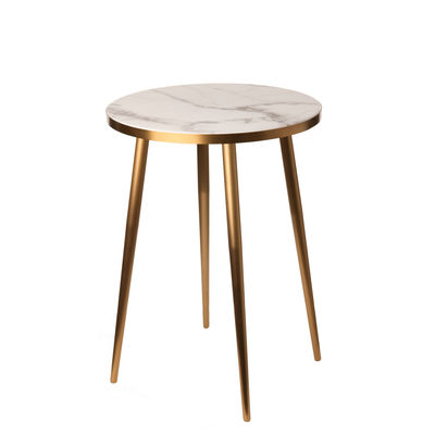 Furniture - Coffee Tables - End table - / Ø 40 x H 55 cm - Marble look by Pols Potten - White - Resin, Stainless steel