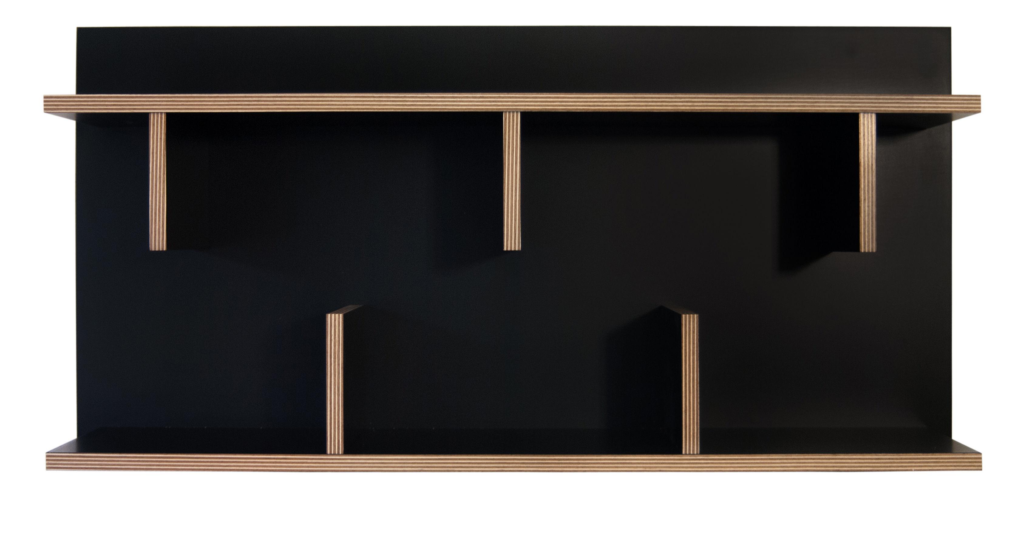 Mobilier - Etagères & bibliothèques - Etagère Rack / L 90 x H 45 cm - POP UP HOME - Noir / Tranches : bois - Contreplaqué de chêne, Mélanine