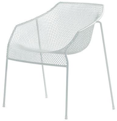 Mobilier - Chaises, fauteuils de salle à manger - Fauteuil empilable Heaven / Métal - Emu - Blanc mat - Acier