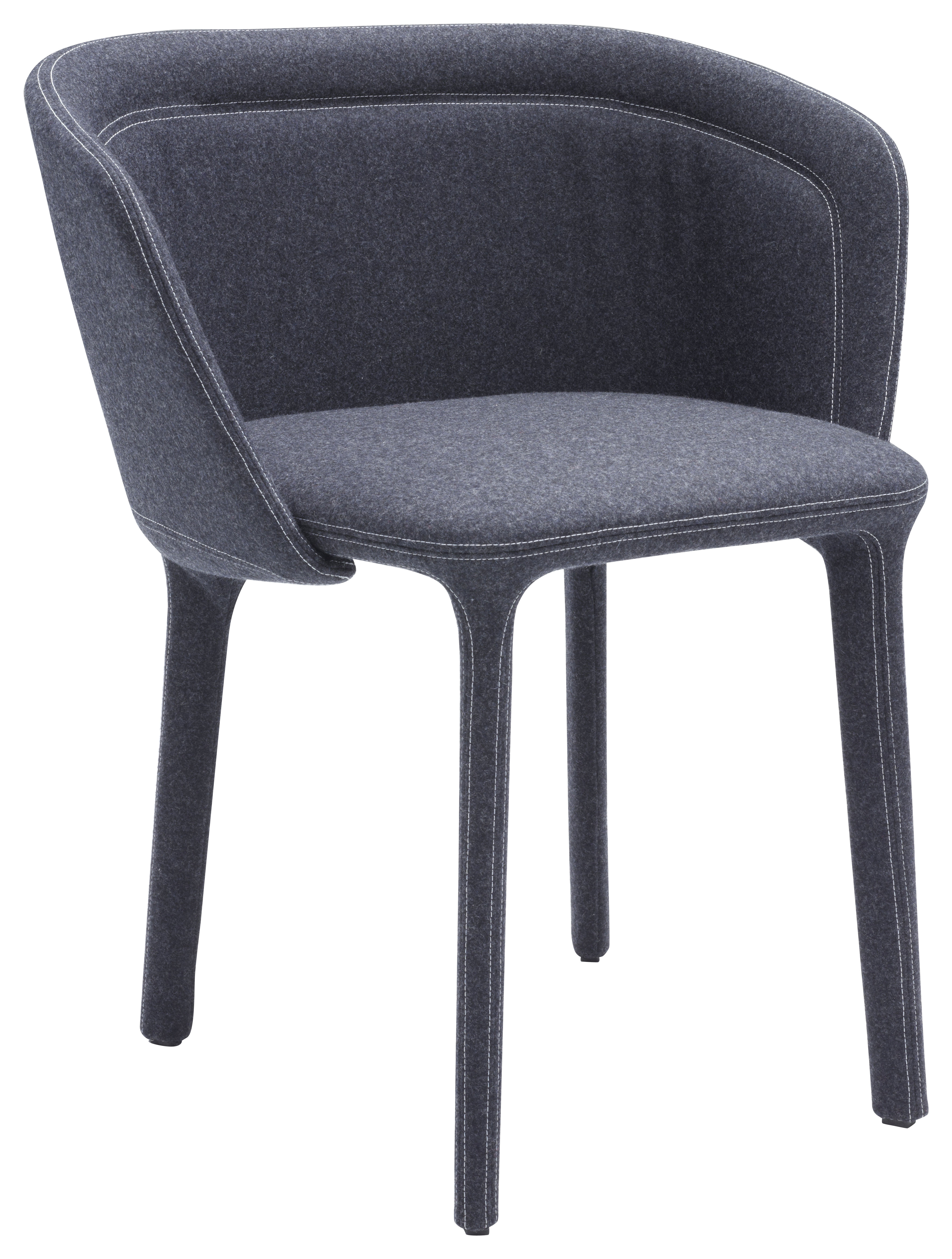Mobilier - Chaises, fauteuils de salle à manger - Fauteuil rembourré Lepel / Tissu - Casamania - Tissu Divina gris / Couture blanche - Métal, Mousse polyuréthane, Tissu Kvadrat