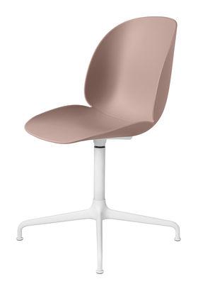 Arredamento - Sedie  - Girevole sedia Beetle - / Gamfratesi di Gubi - Rosa / Gambe bianche - Acciaio laccato, Polipropilene