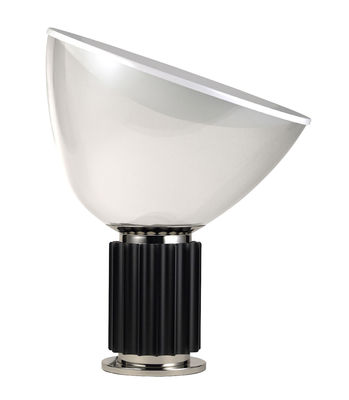 Luminaire - Lampes de table - Lampe de table Taccia LED / Diffuseur plastique - H 54 cm - Flos - Base noire - Aluminium, PMMA