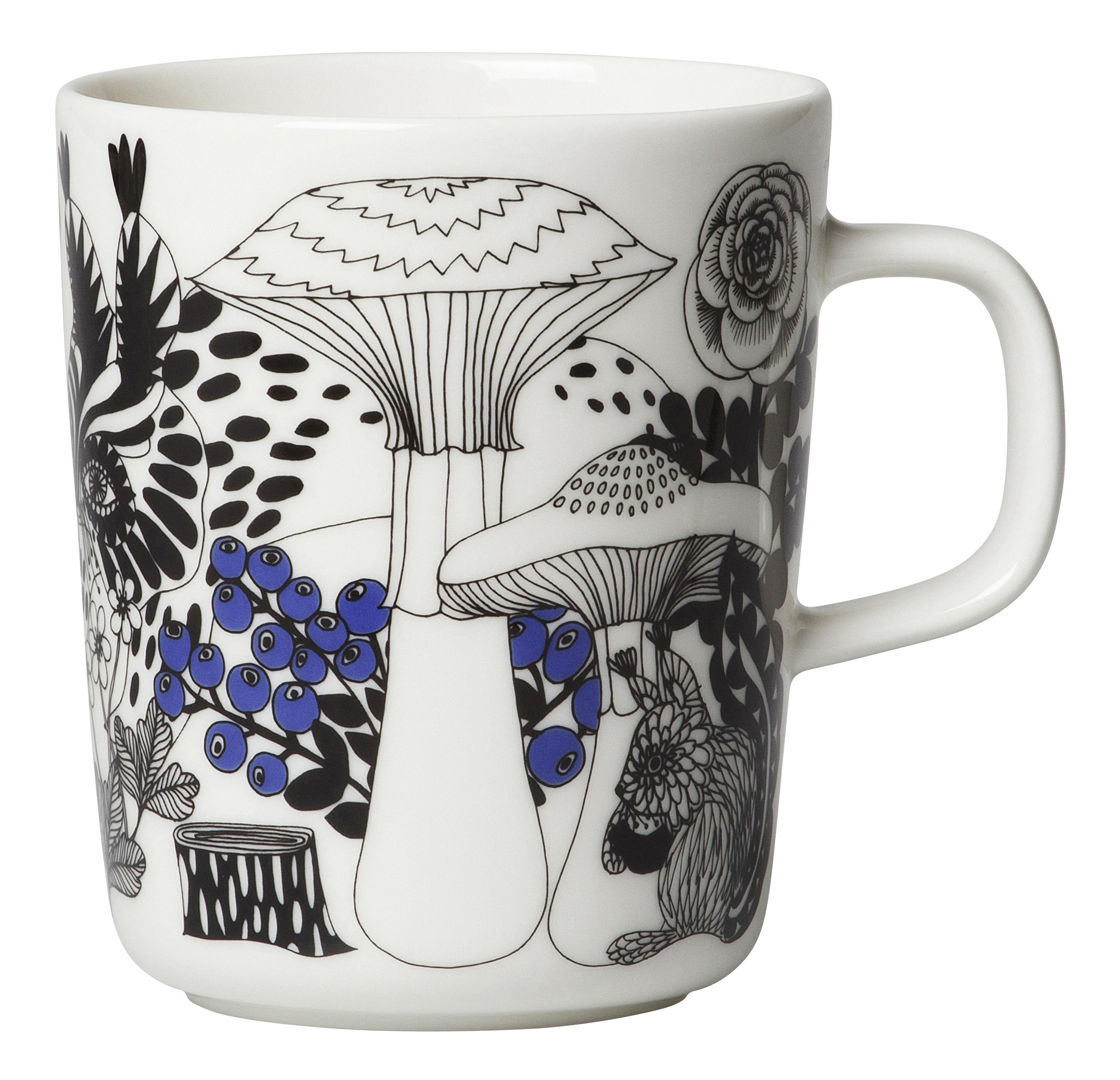 Arts de la table - Tasses et mugs - Mug Veljekset / 25 cl - Marimekko - Veljekset / Noir & Bleu - Grès