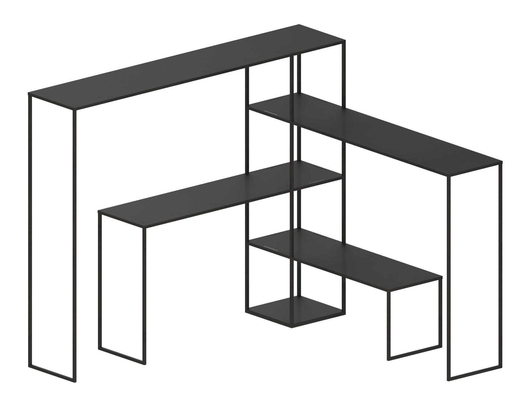 Möbel - Regale und Bücherregale - Easy Bridge Regal / 4 modulare Ablagen  - H 141 cm - Zeus - Schwarzbraun - bemalter Stahl