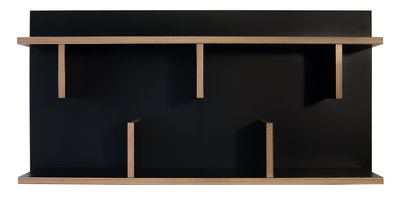 Möbel - Regale und Bücherregale - Rack Regal / L 90 x H 45 cm - POP UP HOME - Schwarz / Seitenränder: holzfarben - Melamin