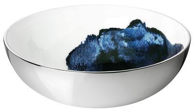 Tischkultur - Salatschüsseln und Schalen - Stockholm Aquatic Salatschüssel / Ø 30 cm x H 10 cm - Stelton - Außenseite metallfarben / Innenseite weiß & blau - Aluminium, emaillierte Keramik