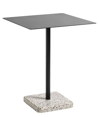 Outdoor - Garden Tables - Terrazzo Square table - 60 x 60 cm by Hay - Charcoal / Grey base - Epoxy lacquered steel, Terrazzo