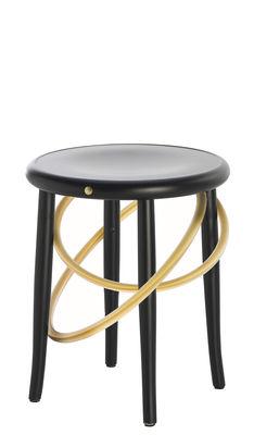Furniture - Stools - Cirque Stool - / H 47 cm by Wiener GTV Design - Black & brass - Beechwood plywood, Brass, Curved solid beechwood