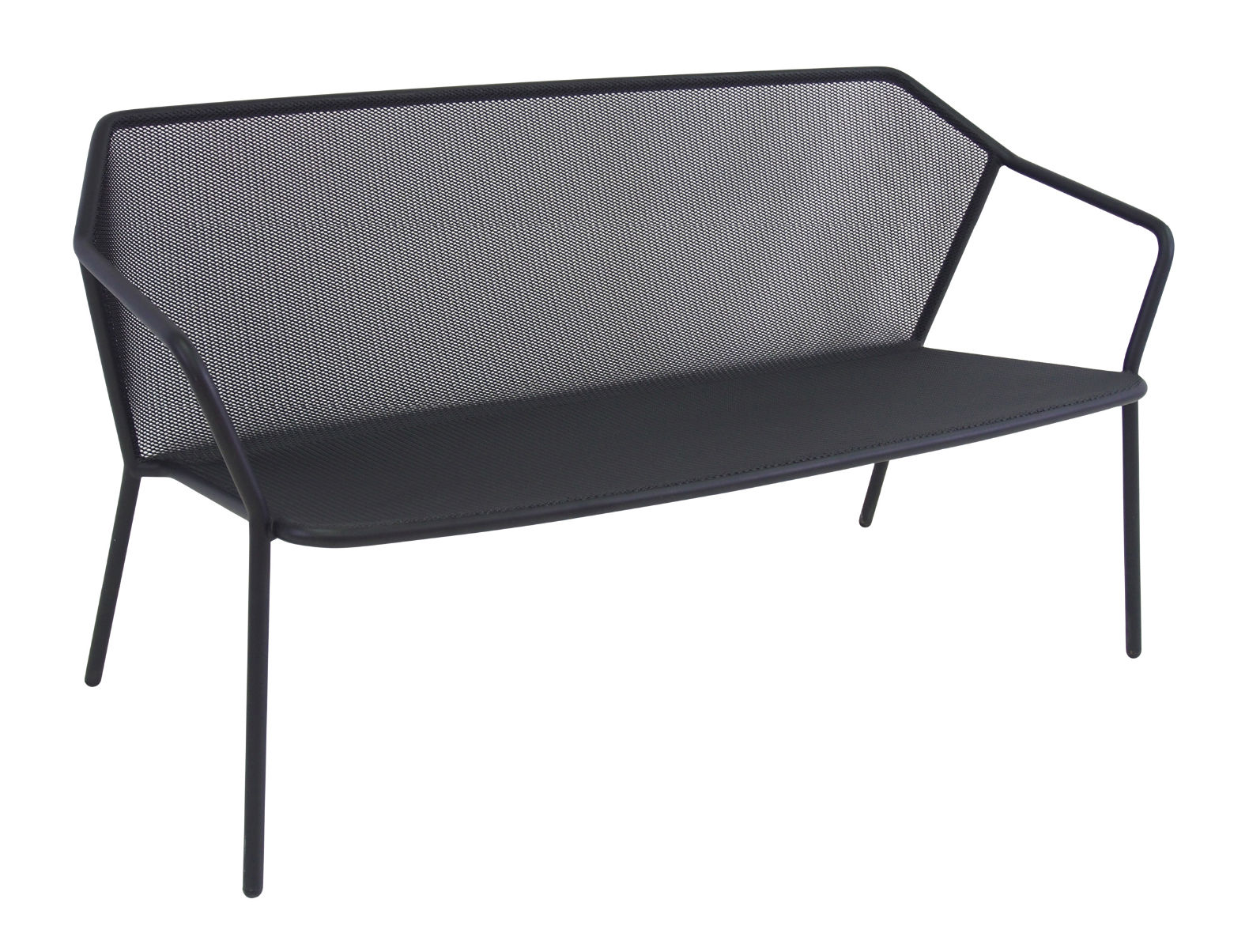 Outdoor - Sofas - Darwin Straight sofa - Metal - L 140 cm by Emu - Black - Varnished steel