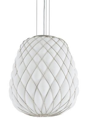 Suspension Pinecone / Ø 50 x H 50 cm - Verre & résille métal - Fontana Arte blanc en verre