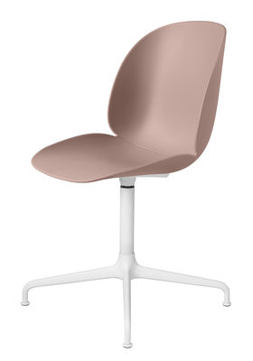 Furniture - Chairs - Beetle Swivel chair - /Gamfratesi by Gubi - pink/White legs - Lacquered steel, Polypropylene