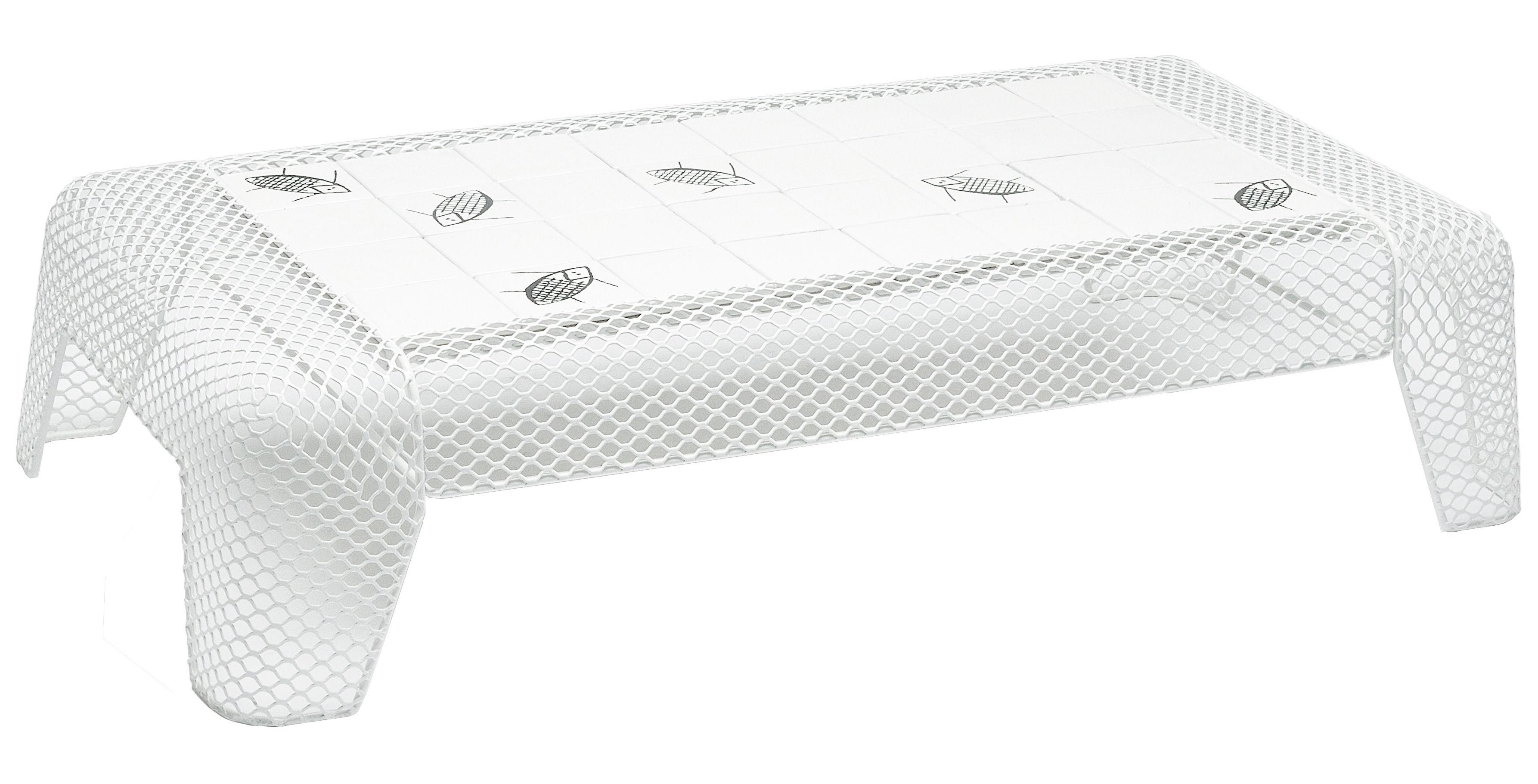 Mobilier - Tables basses - Table basse Ivy céramique motif Insecte - Emu - Blanc / Plateau : carreaux blancs avec motifs Insecte - Acier, Terre cuite émaillée