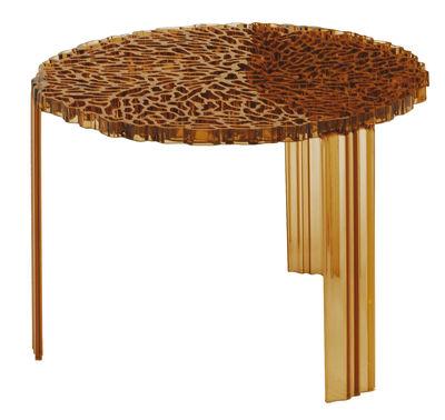 Mobilier - Tables basses - Table basse T-Table Medio / Ø 50 x H 36 cm - Kartell - Ambre Transparent - PMMA