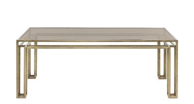 Table Hotline / 200 x 75 cm - Mogg bronze patiné,transparent fumé en métal