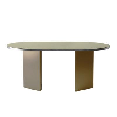 Tendances - Autour du repas - Table ovale Brandy / 220 x 100 cm - Verre - ENOstudio - Beige / Contour acier - MDF laqué, Métal, Verre laqué
