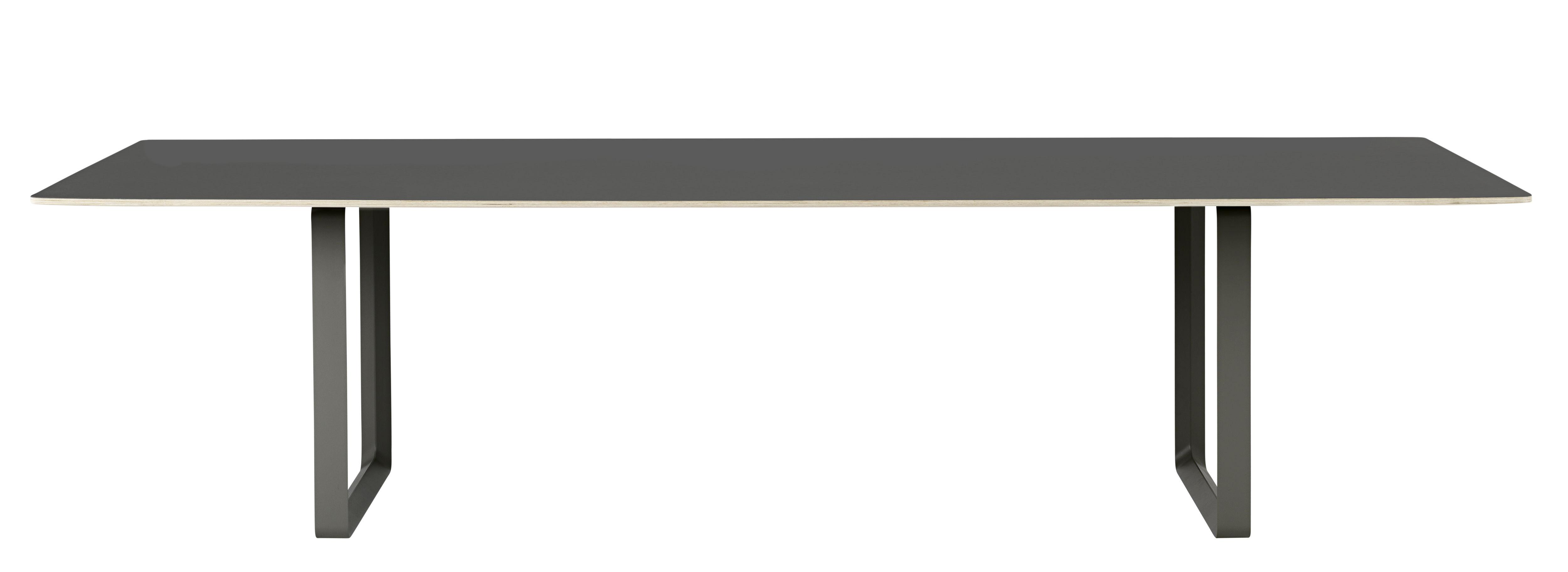 Mobilier - Tables - Table rectangulaire 70-70 XXL / 295 x 108 cm - Muuto - Noir / Pieds noirs - Aluminium, Contreplaqué, Linoléum