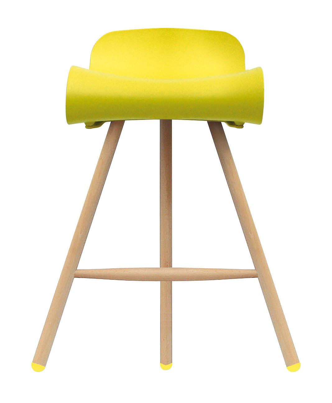 Tabouret de bar BCN Wood Kristalia - Jaune/Bois naturel | Made In Design