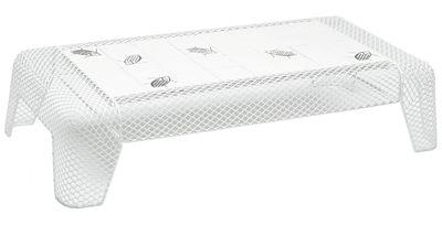 Arredamento - Tavolini  - Tavolino Ivy - Ceramica motivo insetto di Emu - Bianco / Piano: quadrati bianchi con motivi Insetto - Acciaio, Terracotta smaltata