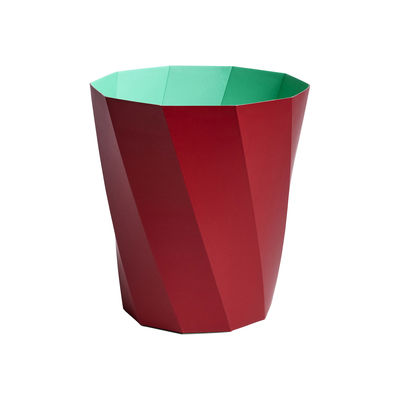 Decoration - Bins - Paper Paper Wastepaper basket - / 100% recycled paper - Ø 28 x H 30.5 cm by Hay - Dark red / Green - Papier recyclé FSC