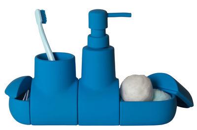 Accessoires - Accessoires für das Bad - Submarine Accessoires-Set / Badezimmer-Set - Seletti - Blau - Gummi, Porzellan