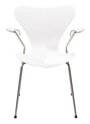 Furniture - Chairs - Série 7 Armchair - Lacquered wood by Fritz Hansen - White lacquered - Lacquered plywood, Steel