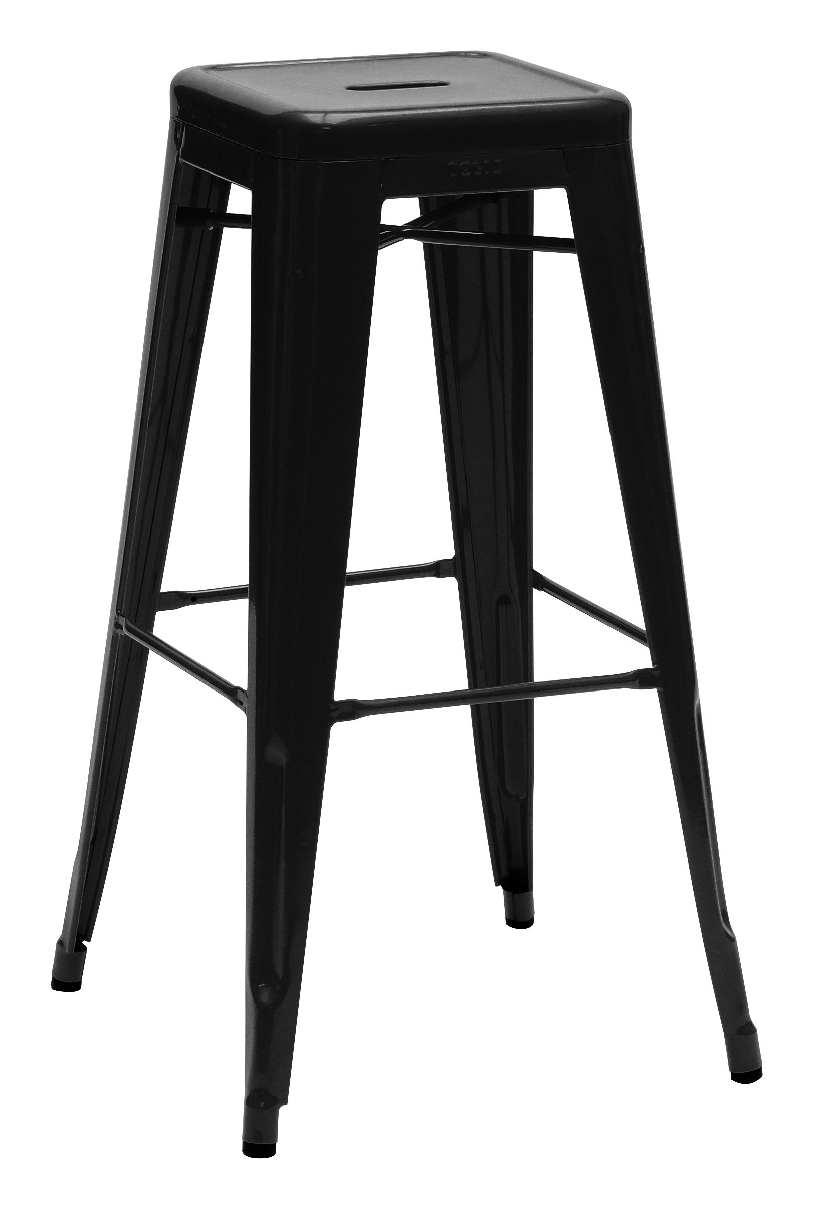 Furniture - Bar Stools - H Bar stool - H 75 cm - Glossy color by Tolix - Black - Lacquered steel