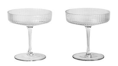 Arts de la table - Verres  - Coupe à champagne Ripple / Set de 2 - Verre strié - Ferm Living - Transparent - Verre soufflé bouche