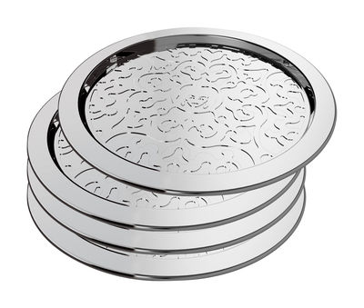 Dessous de verre Dressed / Set de 4 - Alessi métal brillant en métal