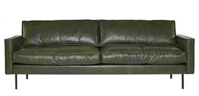 Arredamento - Divani moderni - Divano destro Ppno.1 - / Cuoio - 3 posti -  L 233 cm di Pols Potten - Cuir / Kaki - Acciaio laccato, Pelle, Poliestere