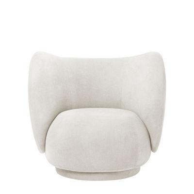 Mobilier - Fauteuils - Fauteuil rembourré Rico / Tissu polyester - Ferm Living - Blanc cassé - Bois, Mousse, Tissu polyester