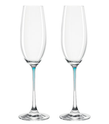 Flûte à champagne La Perla / Set de 2 - Leonardo bleu en verre