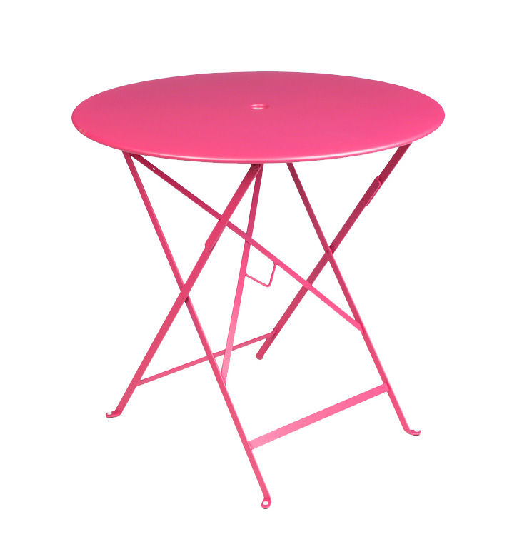 Outdoor - Garden Tables - Bistro Foldable table - Ø 77cm - Foldable - With umbrella hole by Fermob - Fuchsia - Lacquered steel