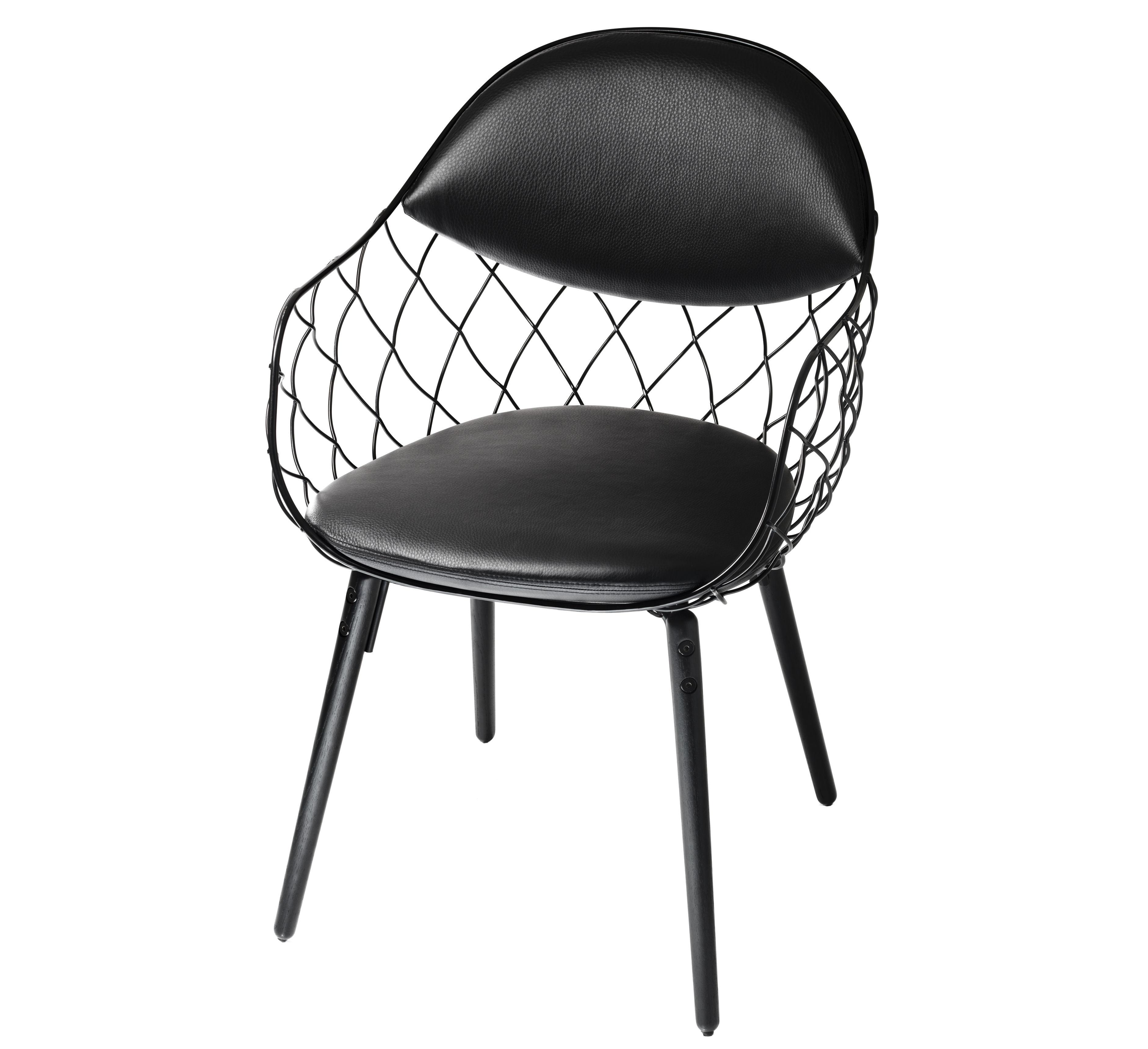 Möbel - Stühle  - Pina Gepolsterter Sessel mit Lederbezug - Magis - Lederbezug schwarz / Füße schwarz - gefirnister Stahl, getönte Esche, Leder