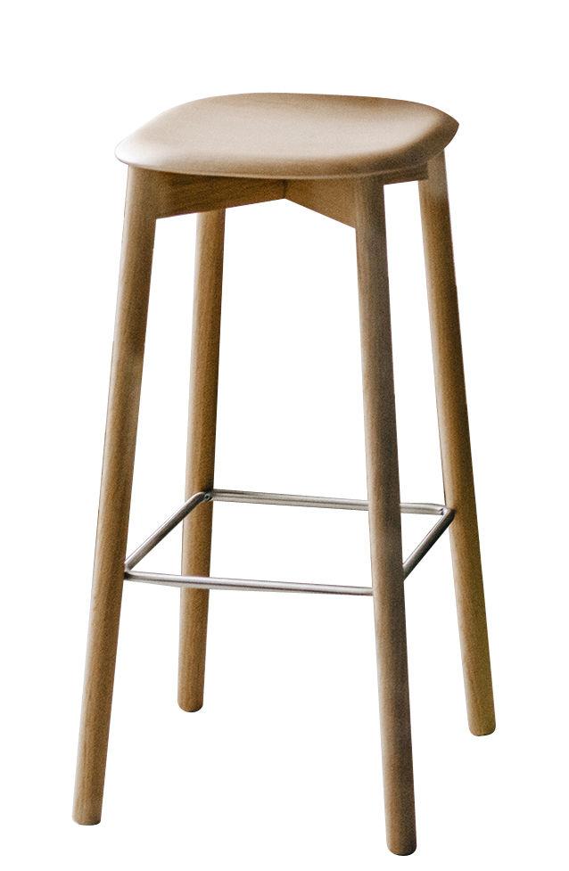 Furniture - Bar Stools - Soft Edge 32 High stool - H 75 cm / Wood by Hay - Oak - Varnished oak plywood, Varnished solid oak