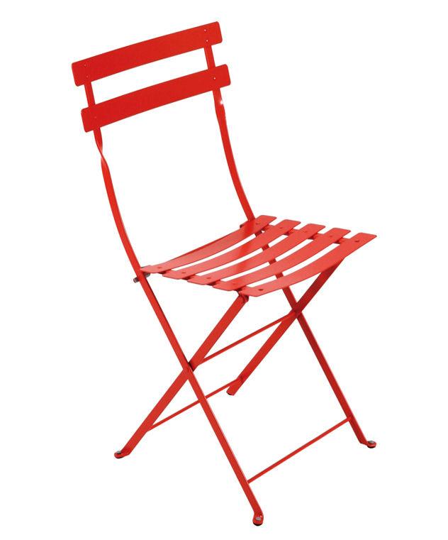 Möbel - Stühle  - Bistro Klappstuhl Metal - Fermob - Mohnrot - lackierter Stahl