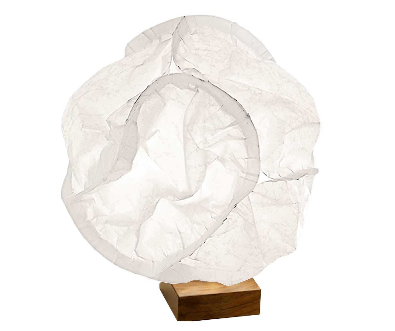 Luminaire - Lampes de table - Lampe de table Babycloud LED / Ø17 cm - Belux - Blanc - Acier chromé, Noyer, Polyester