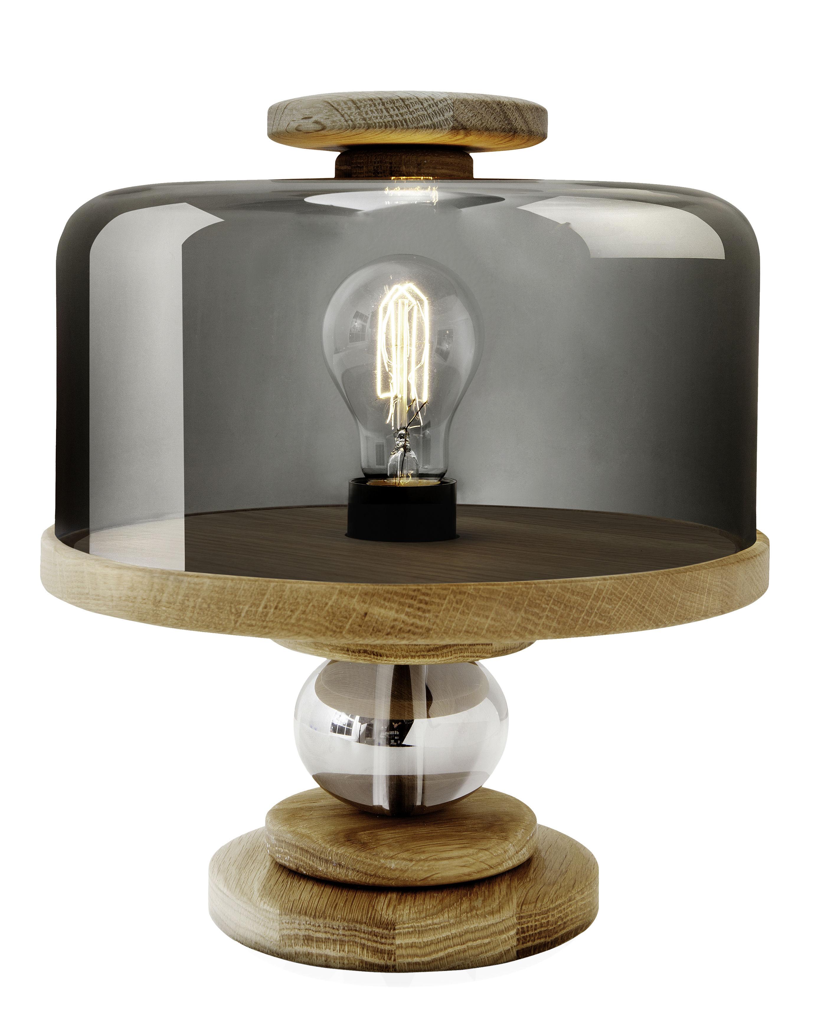 Luminaire - Lampes de table - Lampe de table Bake me a cake - Northern  - Bois / Gris fumé - Chêne naturel, Verre fumé