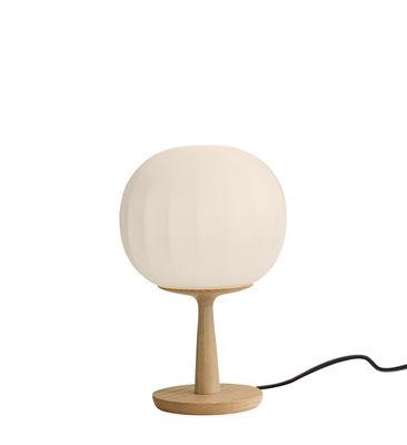 Luminaire - Lampes de table - Lampe de table Lita / LED - Ø 18 cm - Luceplan - Bois & blanc / Ø 18 cm - Bois de frêne massif, Verre soufflé