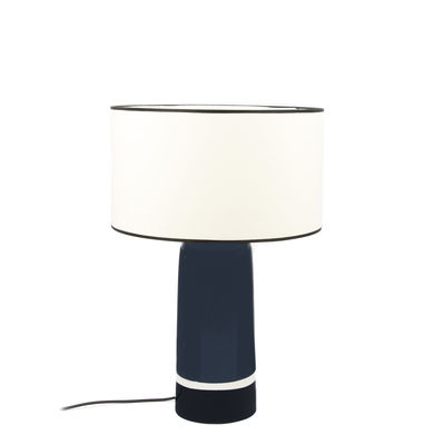 Lampe de table Sicilia Small / H 49 cm - Céramique - Maison Sarah Lavoine blanc,noir,bleu broadway en tissu