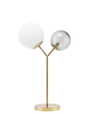 Luminaire - Lampes de table - Lampe de table Twice / Métal & verre - H 42 cm - House Doctor - Blanc & gris / Laiton - Fer, Verre soufflé
