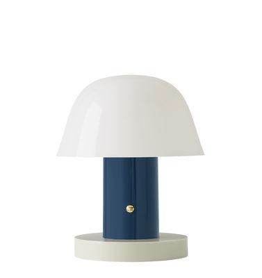 Luminaire - Lampes de table - Lampe sans fil Setago  JH27 / by Jaime Hayon - &tradition - Bleu Crépuscule / Base sable - Polycarbonate moulé