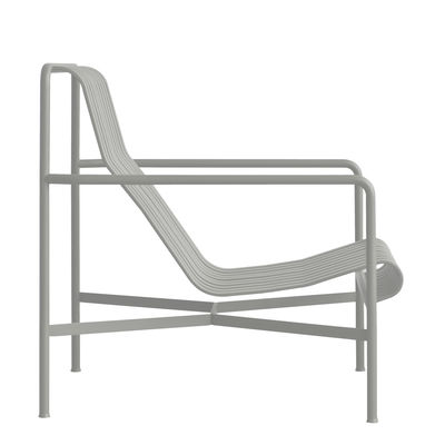 Furniture - Armchairs - Palissade Low armchair - High backrest - R & E Bouroullec by Hay - Light grey - Electro galvanized steel, Peinture époxy