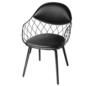 Furniture - Chairs - Pina Padded armchair - Leather / Metal & wood legs by Magis - Black leather / Black legs - Leather, Tinted ashwood, Varnished steel