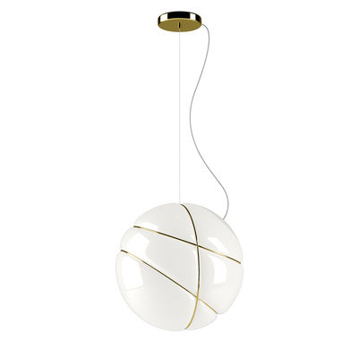 Lighting - Pendant Lighting - Armilla Pendant - / Ø 36 cm - Glass by Fabbian - White / Golden rings - Blown glass, Metal